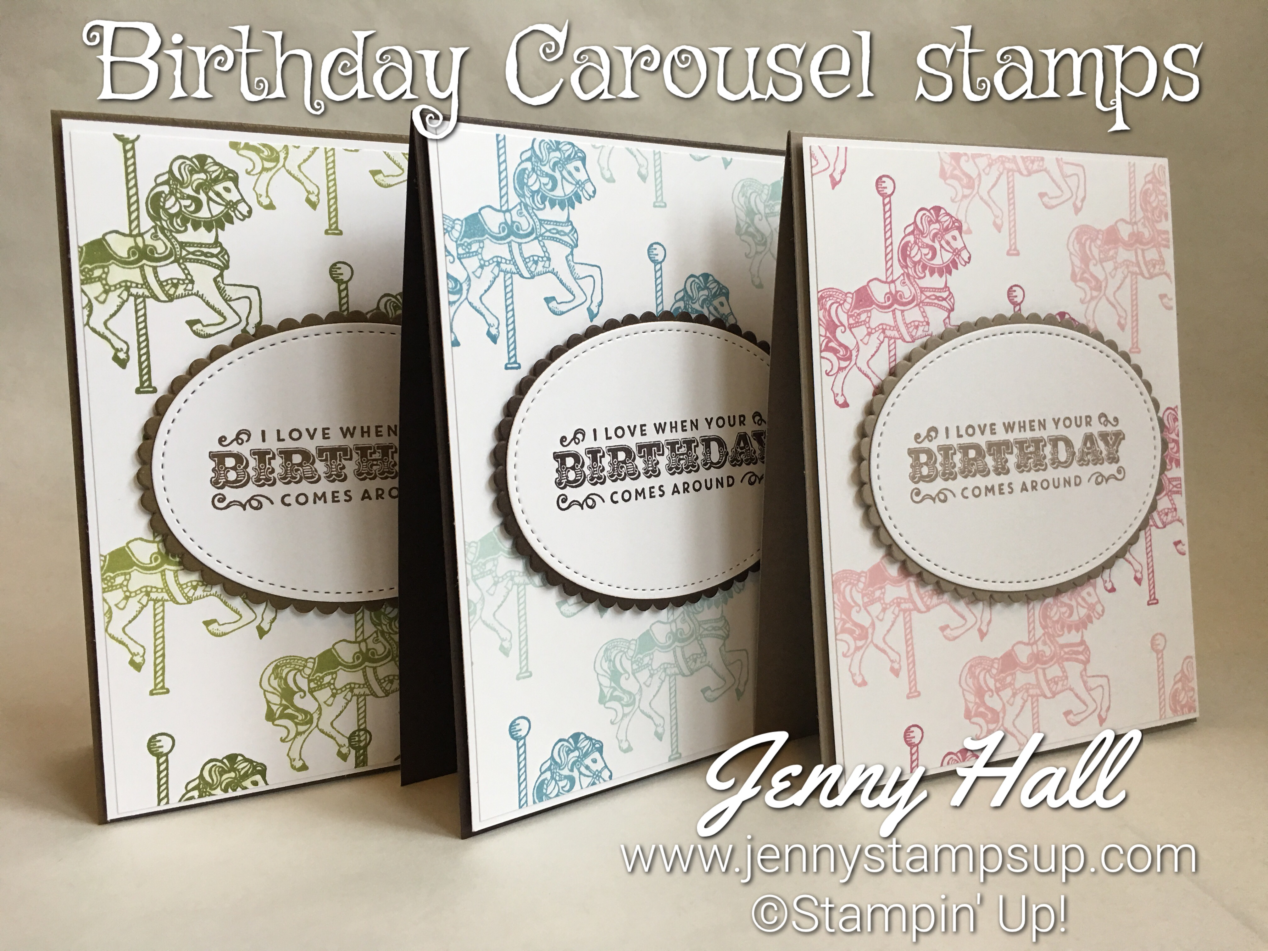 Carousel Birthday Card Sets Jenny Hall Designs