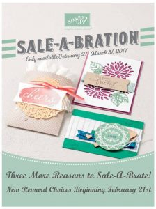 Feb 21st you have 3 more choices for Sale-A-Bration! Shop online at www.jennystampsup.com