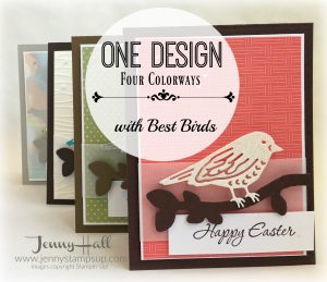 One card design in four colorways by Jenny Hall www.jennystampsup.com