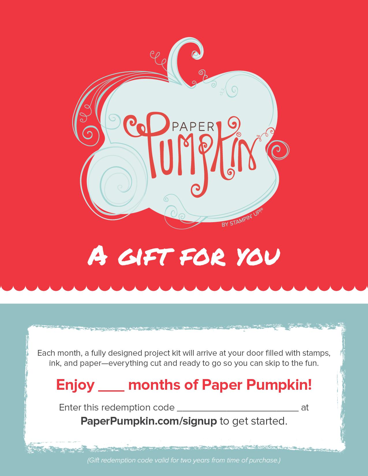 Paper Pumpkin Kit Gift Certificate