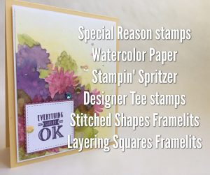 Special Reason stamps in spring colors using watercolor with Jenny Hall at www.jennystampsup.com