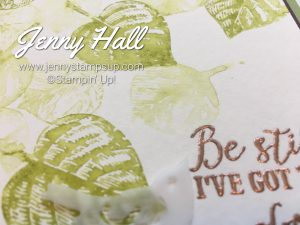 Faux watercoloring using Vintage Leaves stamps with Jenny Hall at www.jennystampsup.com