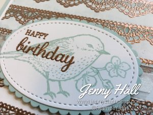 Emboss Resist technique using Delicate Details and Best Birds by Jenny Hall www.jennystampsup.com