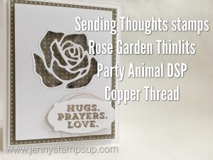 Sending Thoughts & Rose Garden dies shaker card by Jenny Hall at www.jennystampsup.com