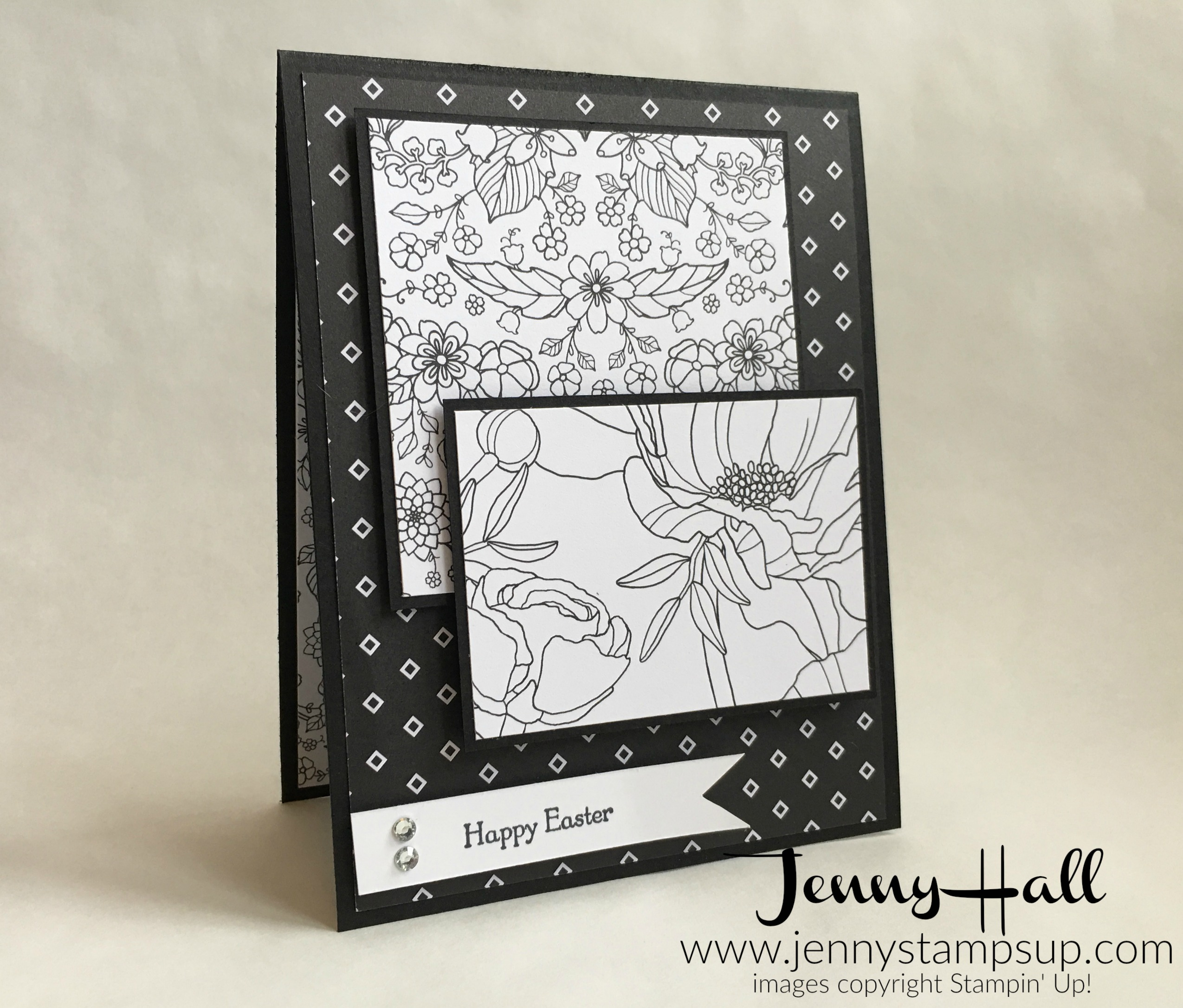 Black and White simple Easter card by Jenny Hall at www.jennystampsup.com