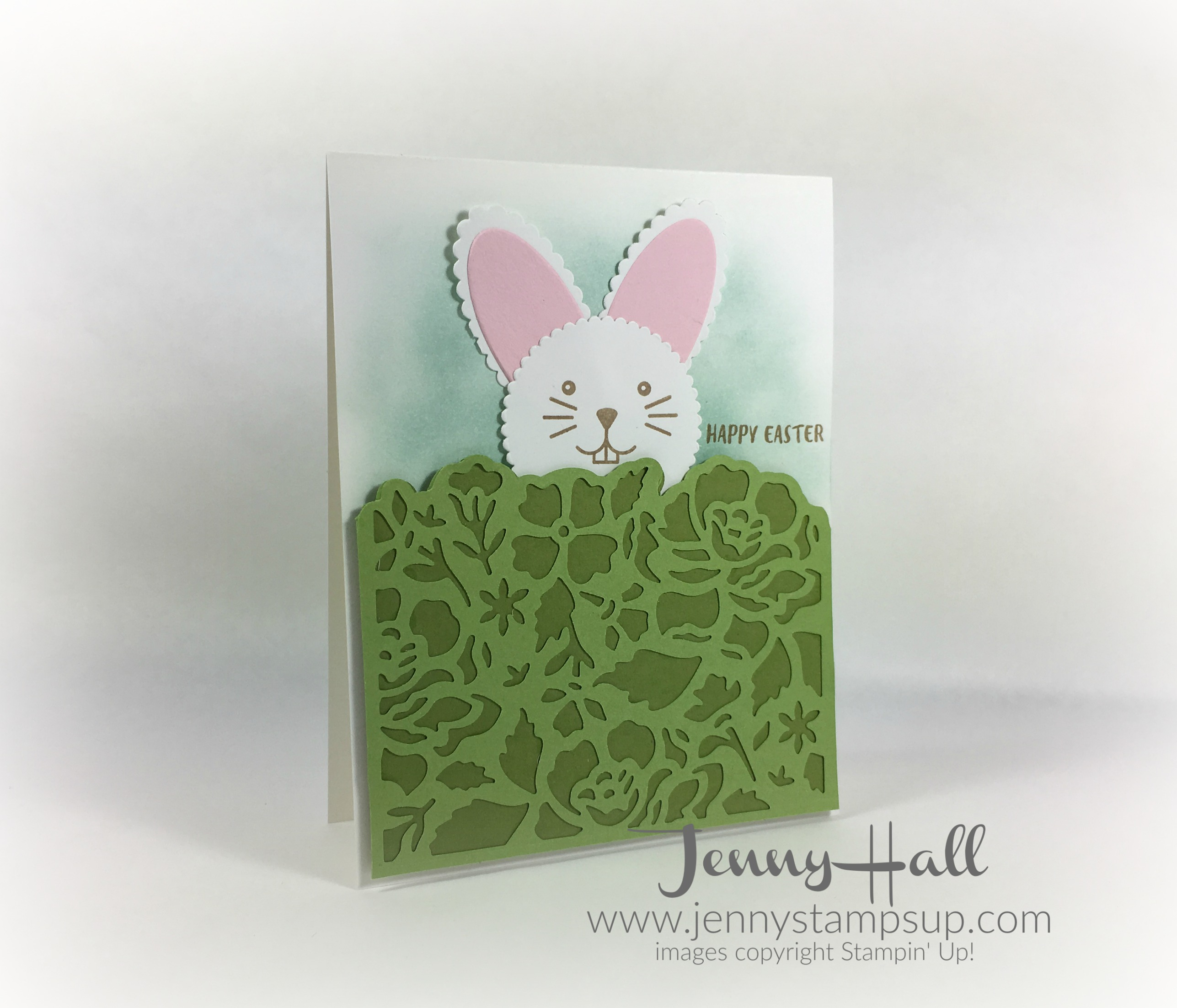 creating a bunny card with March 2017 paper pumpkin kit by Jenny Hall www.jennystampsup.com