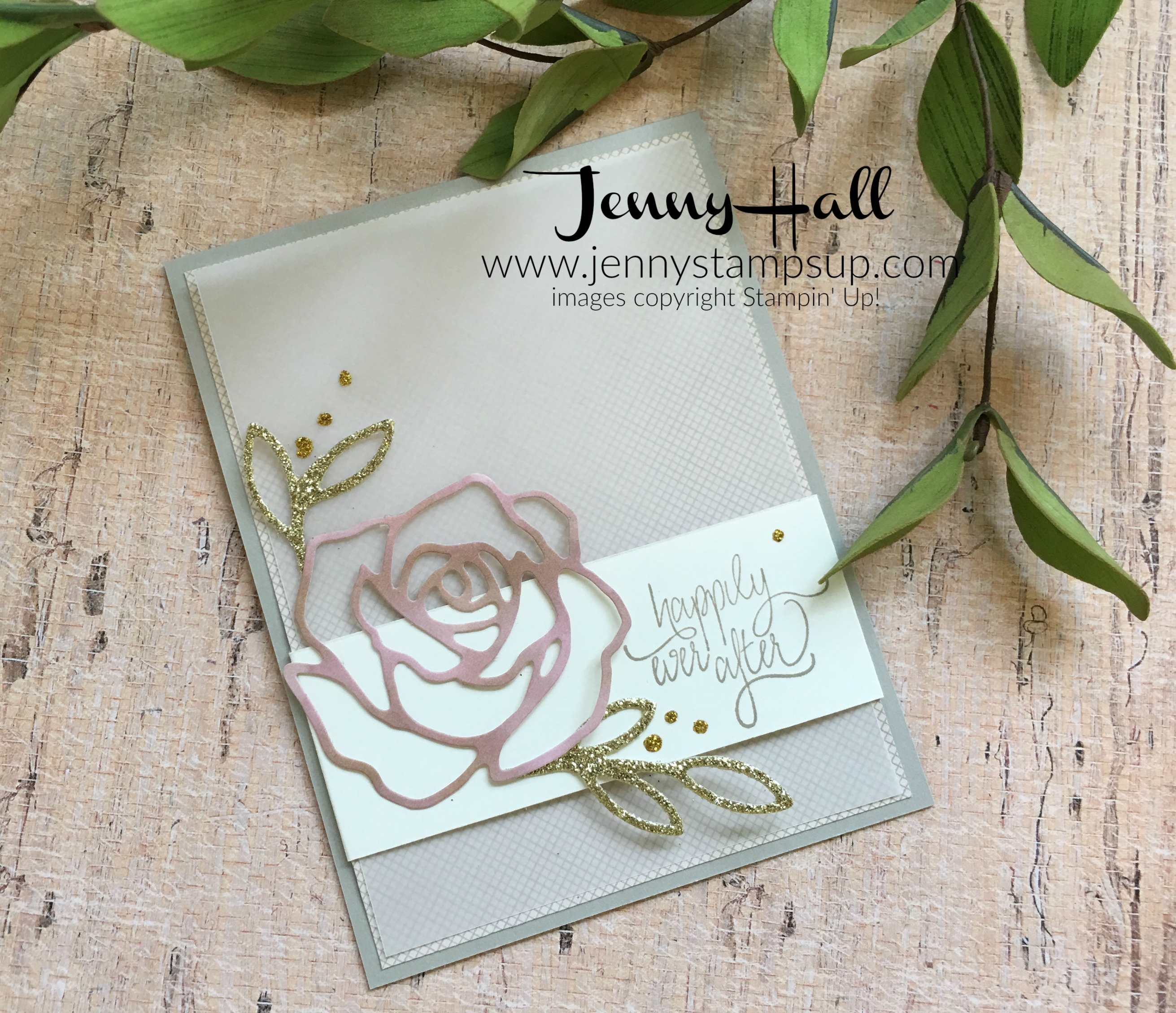 Patterned paper die cut card by Jenny Hall at www.jennystampsup.com
