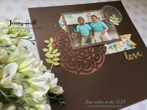 scrapbook page with embossing paste