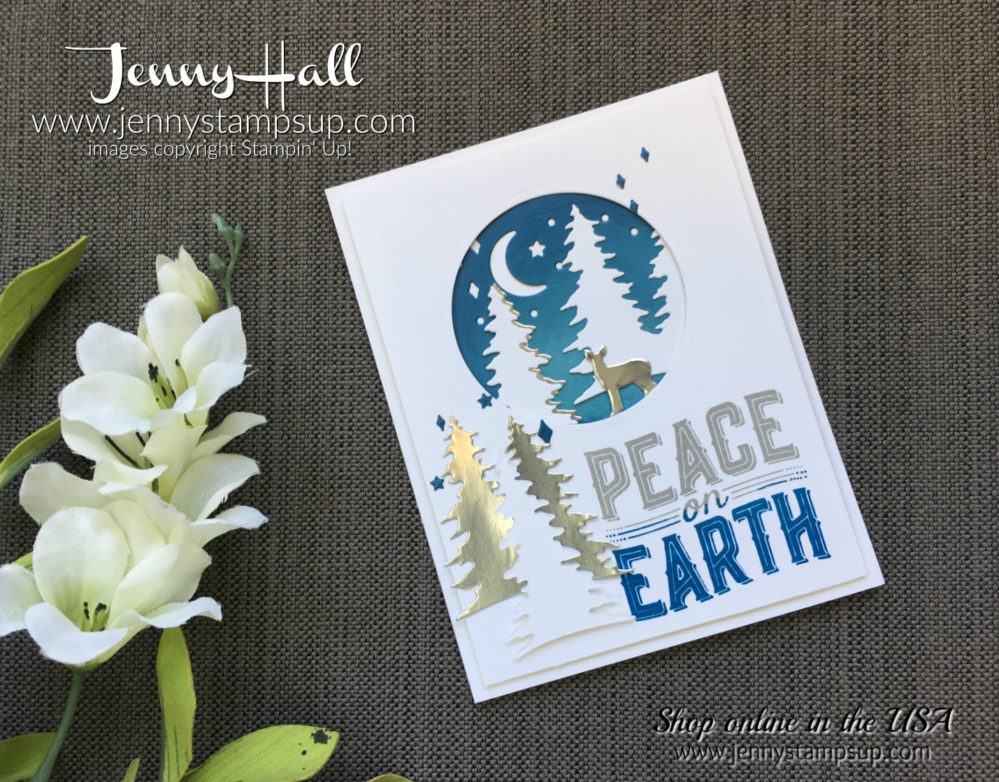 creating simple moonlight in a card by Jenny Hall at www.jennystampsup.com for cardmaking, scrapbooking, video tutorials and more, please visit me today