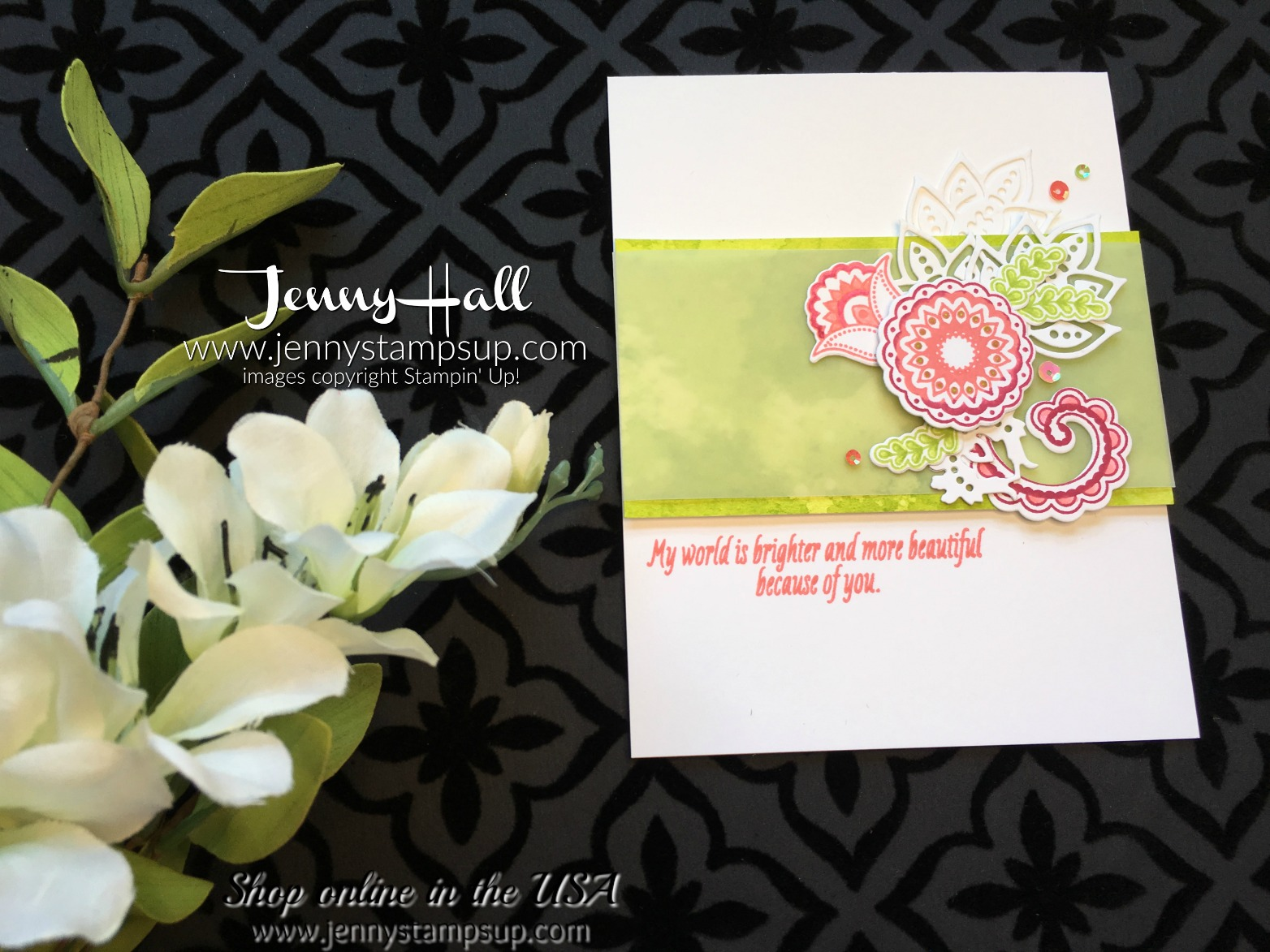 how to create a floral spray on a handmade card by Jenny Hall at www.jennystampsup.com