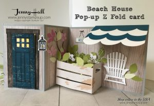 Pop Up Z Fold Beach House card by Jenny Hall at www.jennystampsup.com for cardmaking, video tutorials, papercraft gift giving and more