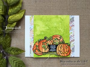 Seasonal Chums Bundle pumpkin card by Jenny Hall at www.jennystampsup.com for cardmaking, scrapbooking, papercraft gift giving, video tutorials and more