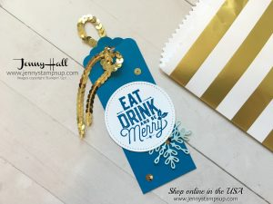 snowflake sentiments gift tag by Jenny Hall at www.jennystampsup.com for cardmaking, papercraft gift giving, scrapbooking and video tutorials