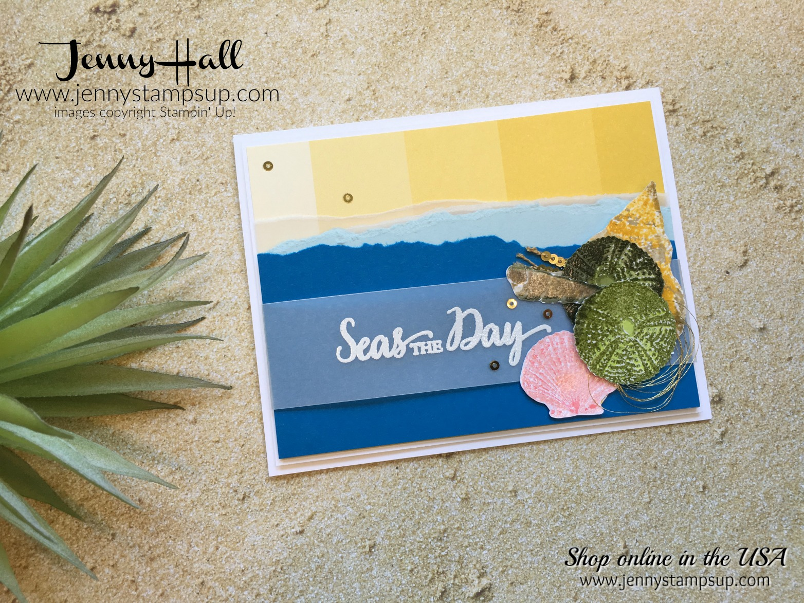 beach theme card by Jenny Hall at www.jennystampsup.com