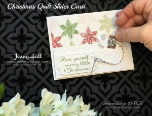 Christmas Quilt slider card by Jenny Hall of www.jennystampsup.com for cardmaking, scrapbooking, video tutorials, craft supplies and more!