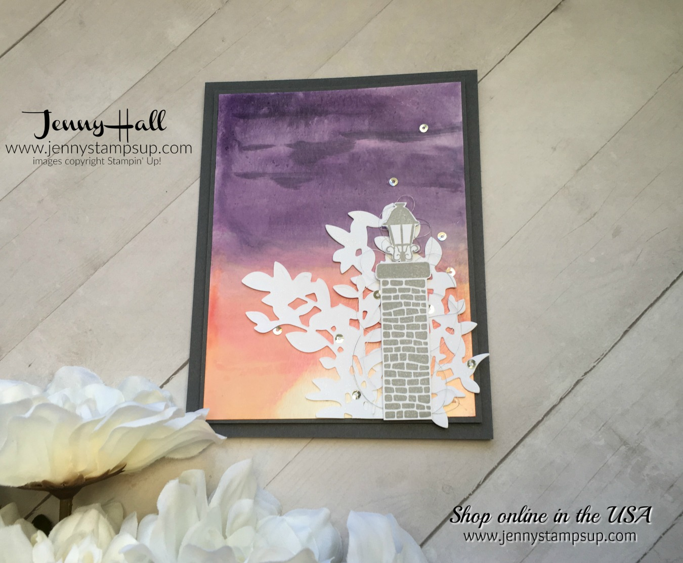 Graveyard Gate card by Jenny Hall at www.jennystampsup.com for cardmaking and more