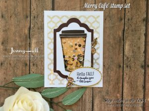 Merry Cafe' card by Jenny Hall at www.jennystampsup.com for cardmaking, scrapbooking, papercraft gift giving, video tutorials and more!