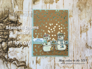 Seasonal Chums card by Jenny Hall at www.jennystampsup.com for cardmaking, scrapbooking, papercraft gift giving, video tutorials and more!