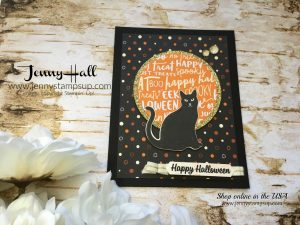 Spooky Cat card by Jenny Hall at www.jennystampsup.com for cardmaking and more