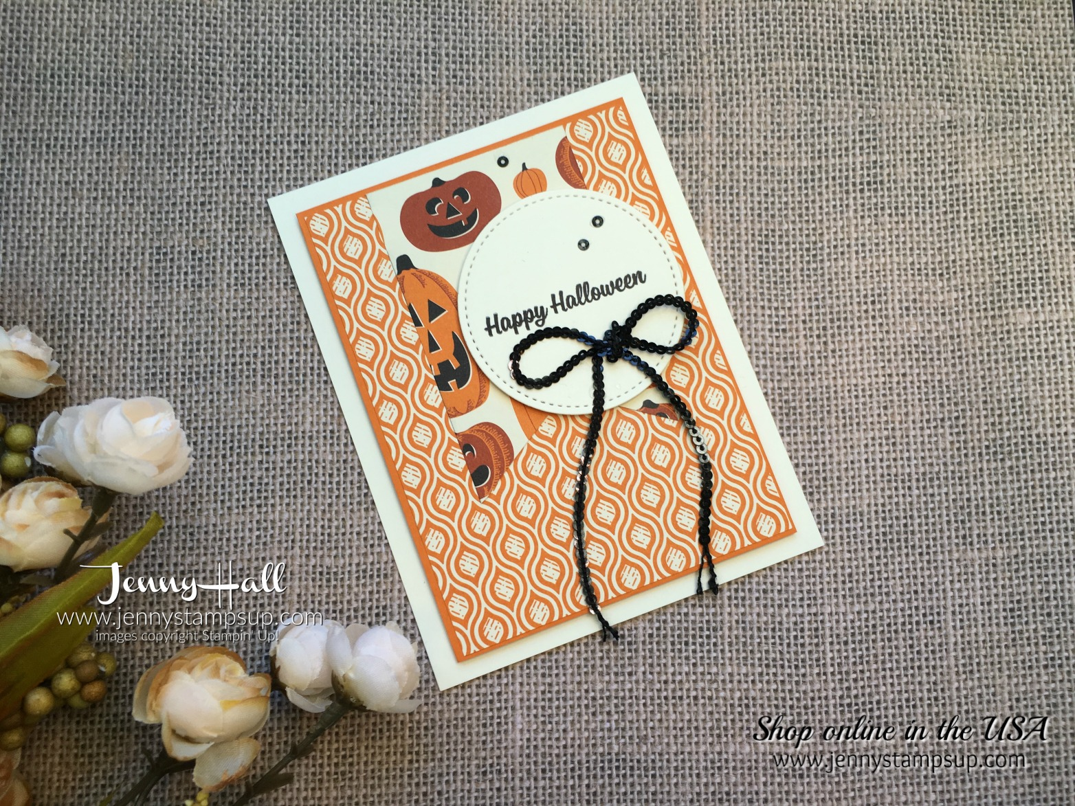 Simple Halloween card with Video for #SIP119 by Jenny Hall at www.jennystampsup.com for cardmaking and more