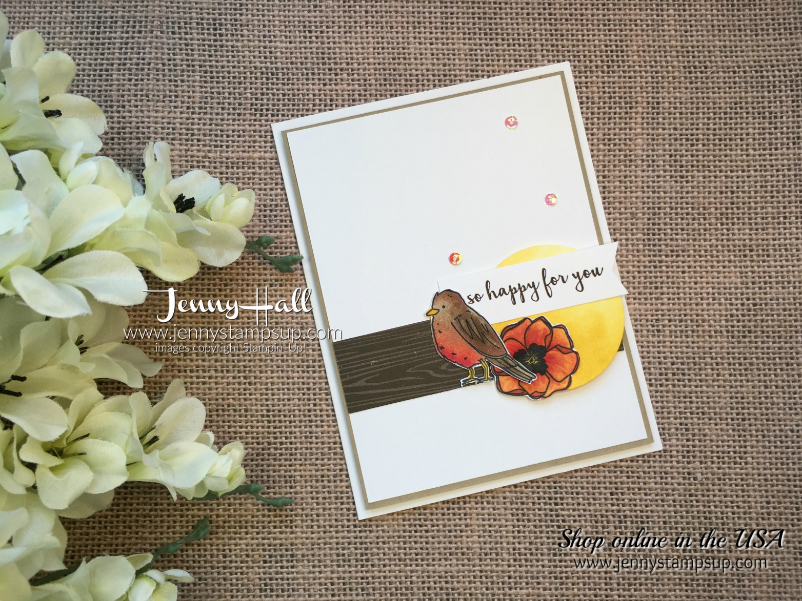 Color Me Happy robin card by Jenny Hall at www.jennystampsup.com for cardmaking, video tutorials, scrapbooking, papercraft gift giving and more!