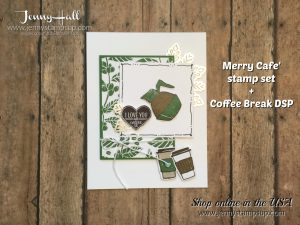Merry Cafe' card by Jenny Hall at www.jennystampsup.com for Stampin' Up! product sales, cardmaking tutorials, scrapbook projects and more!