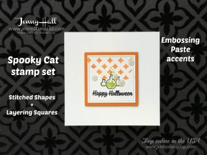 Clean and Simple Halloween card by Jenny Hall at www.jennystampsup.com for cardmaking, video tutorials, papercrafts, scrapbooking and more!