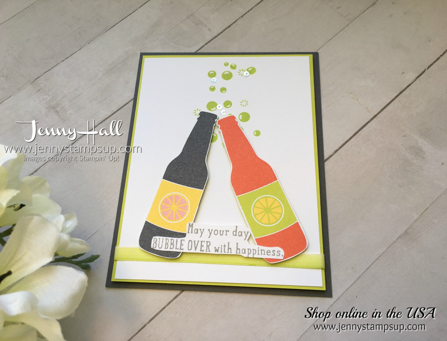 Bubble Over card by Jenny Hall at www.jennystampsup.com for scrapbooking, cardmaking, video tutorials and more!