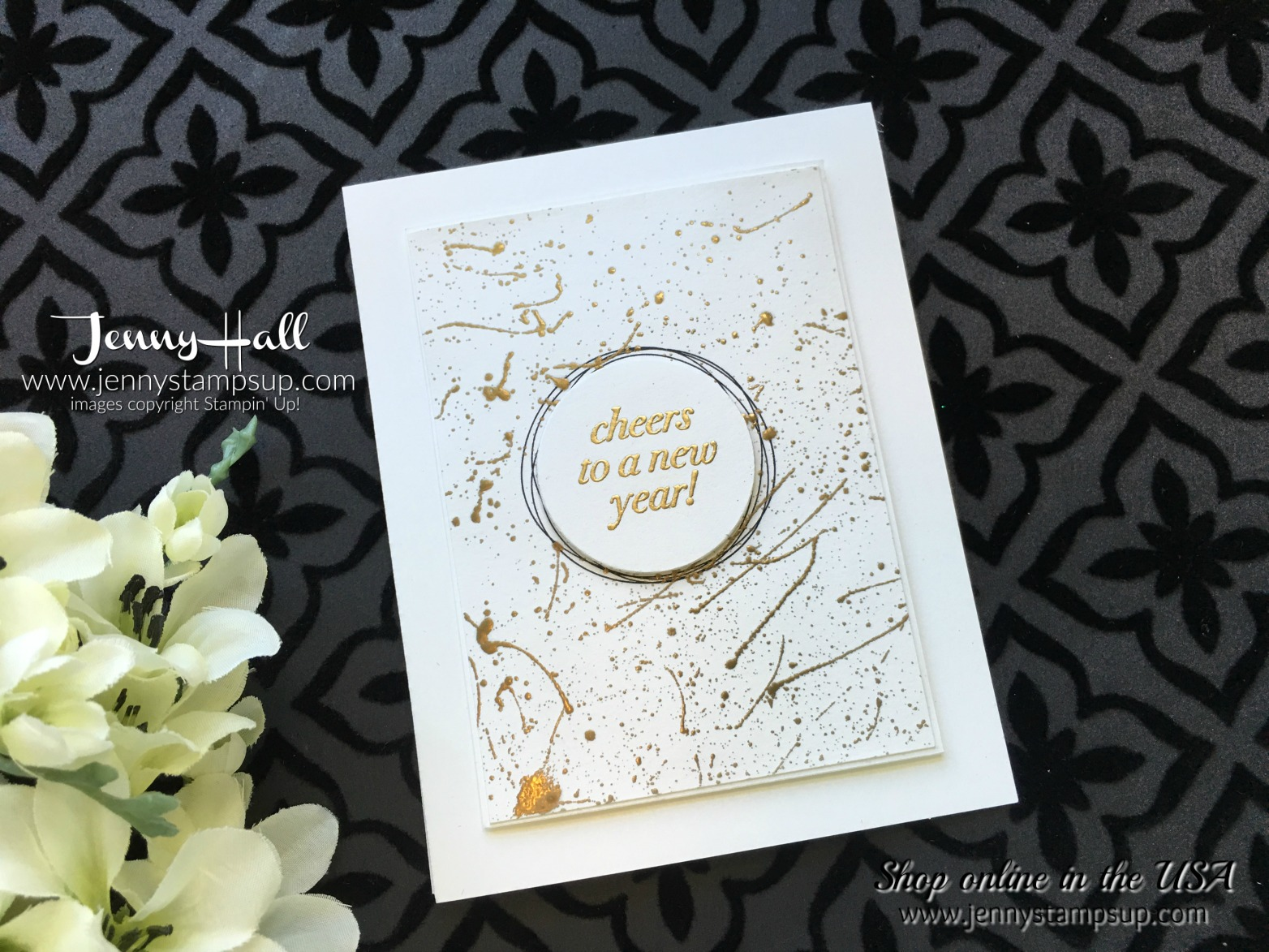 Cheers to the Year card by Jenny Hall at www.jennystampsup.com for cardmaking, scrapbooking, video tutorials and more!