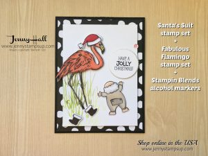 Santa's Suit card by Jenny Hall at www.jennystampsup.com for cardmaking, scrapbooking, video tutorials, online classes and more!