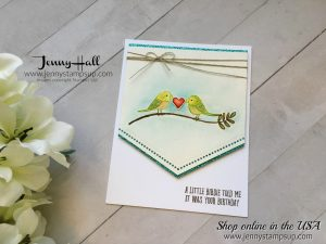 Bird Banter watercolor card by Jenny Hall at www.jennystampsup.com for cardmaking, video tutorials, scrapbooking and more!