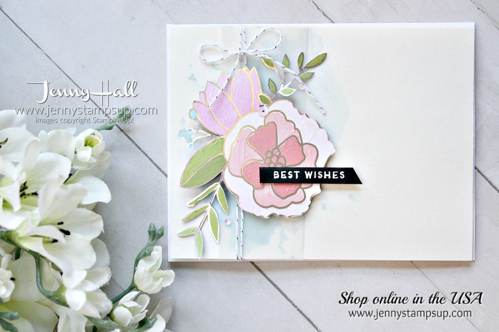 Sweet Soiree with a splash! card by Jenny Hall using Stampin Up products at www.jennystampsup.com for #cardmaking #videotutorial #scrapbooking #cakesoiree #sweetsoiree #cardmakingdesign #jennystampsup #jennyhalldesign #jennyhallstampinup #inksmooshing #watercolor