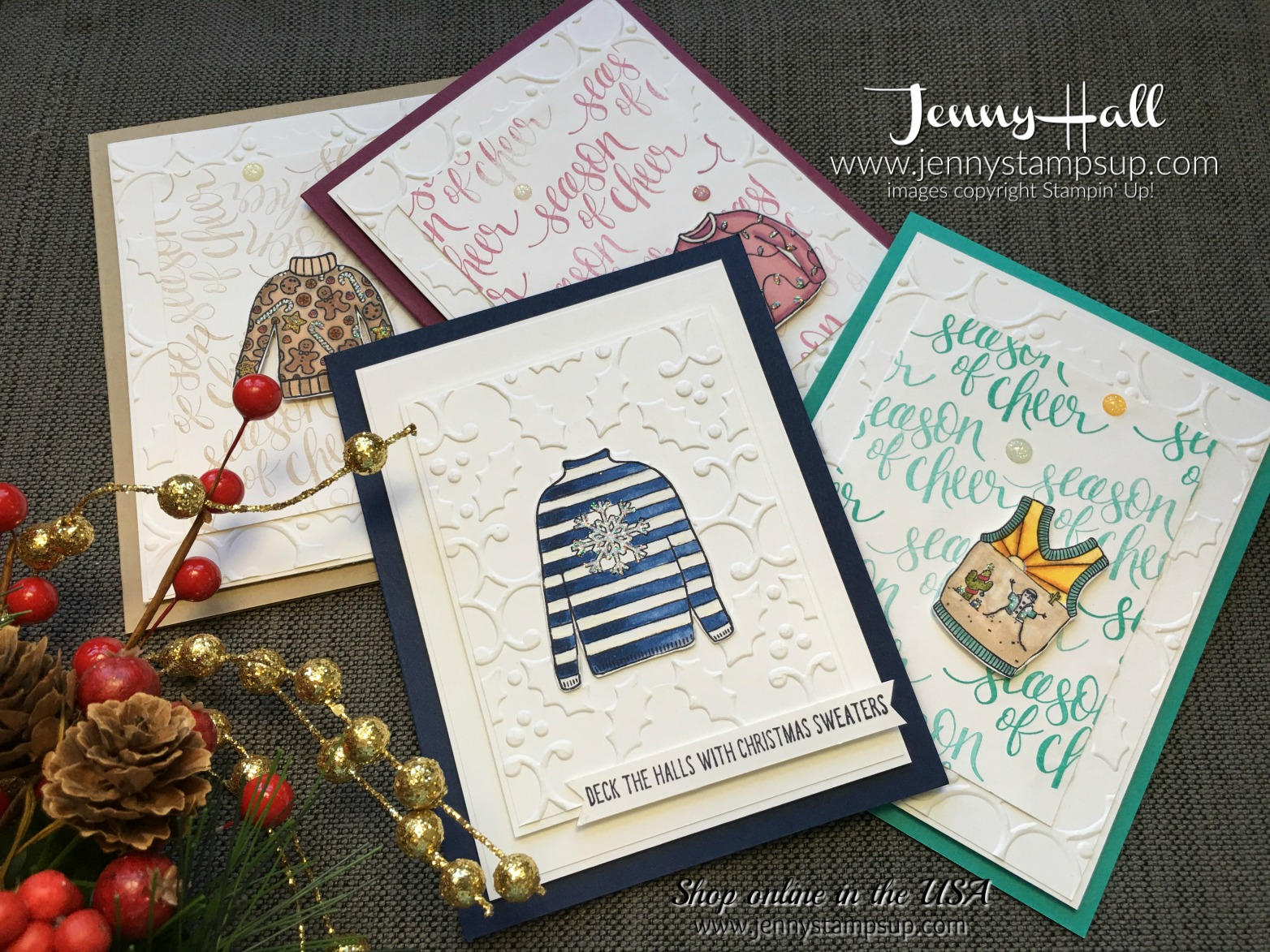 Christmas Sweaters cards by Jenny Hall at www.jennystampsup.com for cardmaking, scrapbooking, video tutorials and more!