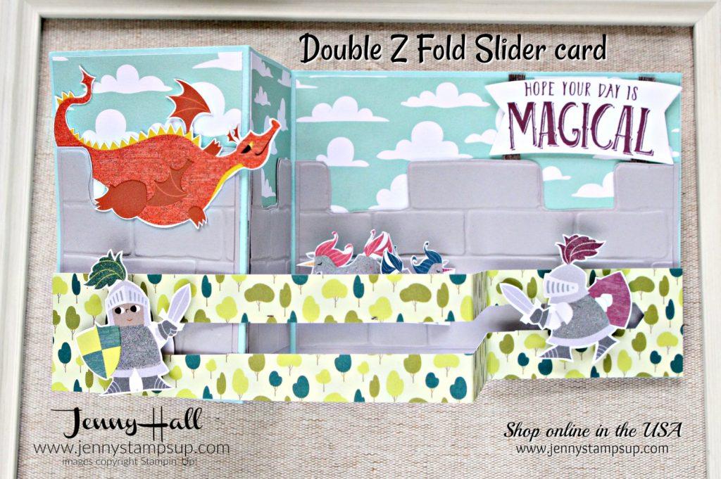 Fancy Fold Magical Day card by Jenny Hall for AddINKtive Designs using Stampin Up products #cardmaking #stampinup #fancyfoldcard #cardmaking #scrapbooking #videotutorial #doublezfoldslidercard #slidercard #unicorn #dragon #birthdaycard #diy #artsandcrafts #dragonsandknights #jennystampsup #jennyhalldesign #jennyhallstampinup #brickwallembossingfolder #magicaldaystampinup