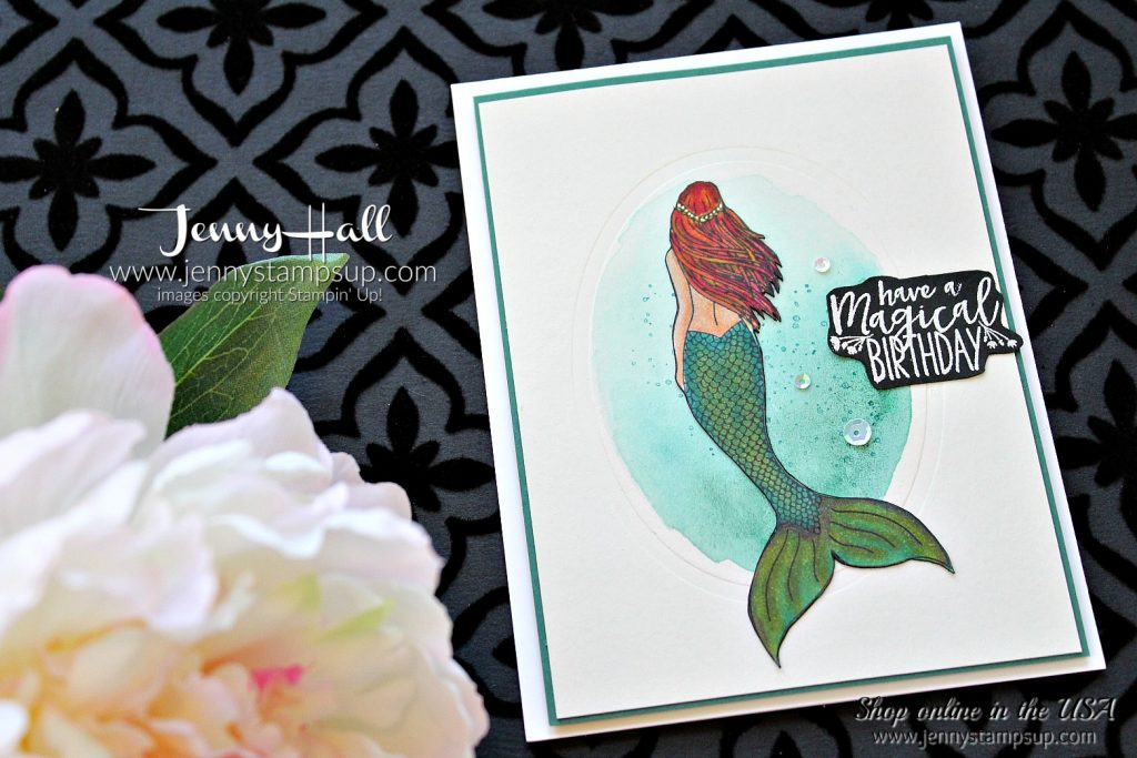 Magical Mermaid clean and simple card by Jenny Hall at www.jennystampsup.com for #stampinup #cardmaking #watercolor #videotutorial #scrapbooking #magicalmermaid #mermaidstamp #stampinblends #alcoholmarkers #papercrafts