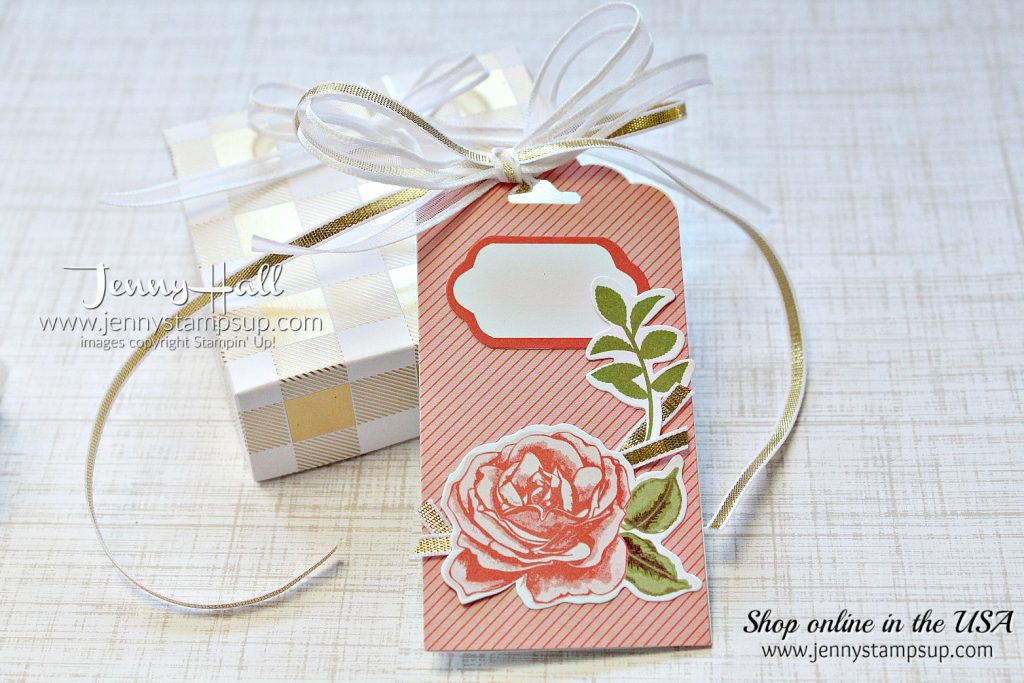 DIY Gift Box and Tag using #stampinup products with Jenny Hall at www.jennystampsup.com for #cardmaking #scrapbooking, #giftpackaging #petalgarden #memoriesandmore #jennystampsup #jennyhalldesign #jennyhallstampinup #cardmaking #papercrafts