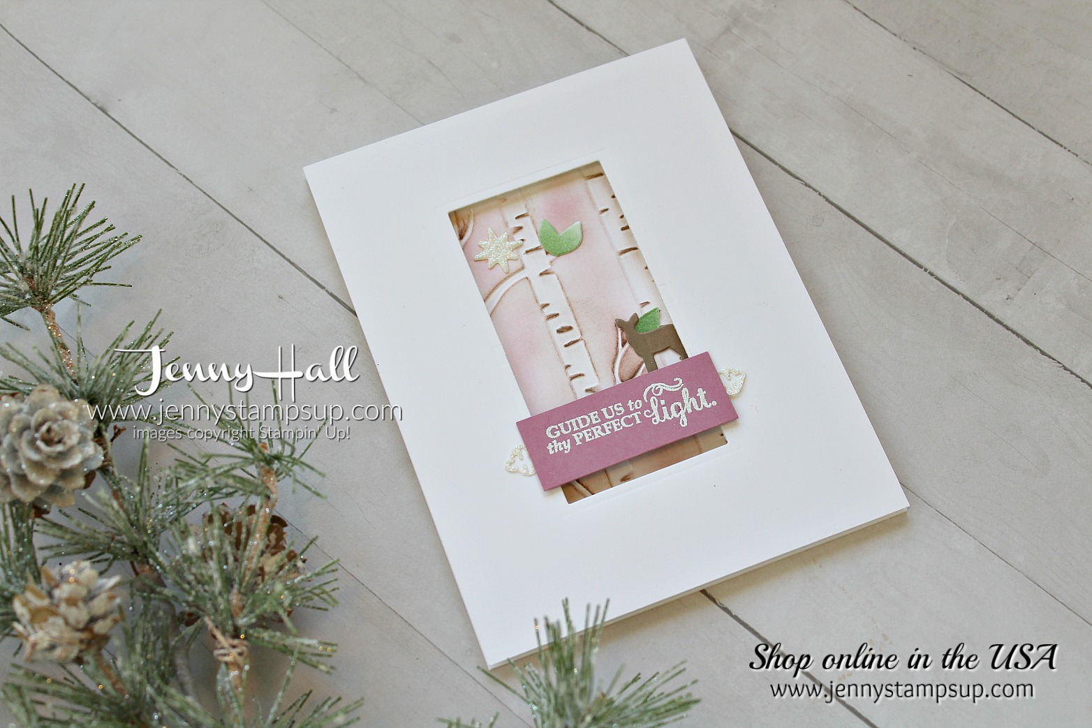 Clean and Simple Christmas card by Jenny Hall using #stampinup products with #videotutorial Find me at www.jennystampsup.com for #cardmaking #scrapbooking #processvideo #papercrafts and #handmade #artsandcrafts