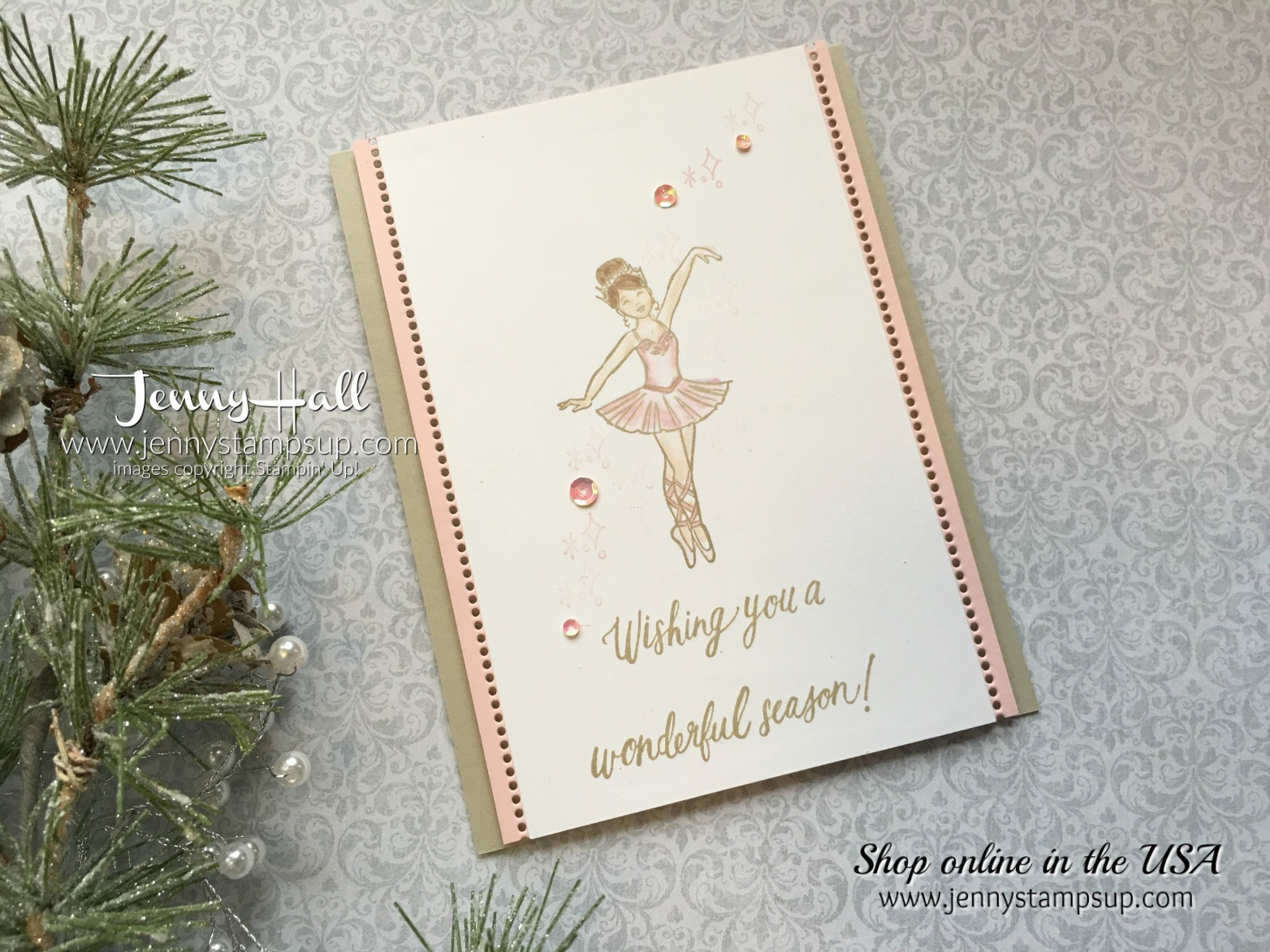 Simple Stamped Ballerina card by Jenny Hall at www.jennystampsup.com for cardmaking, video tutorials, scrapbooking and more!