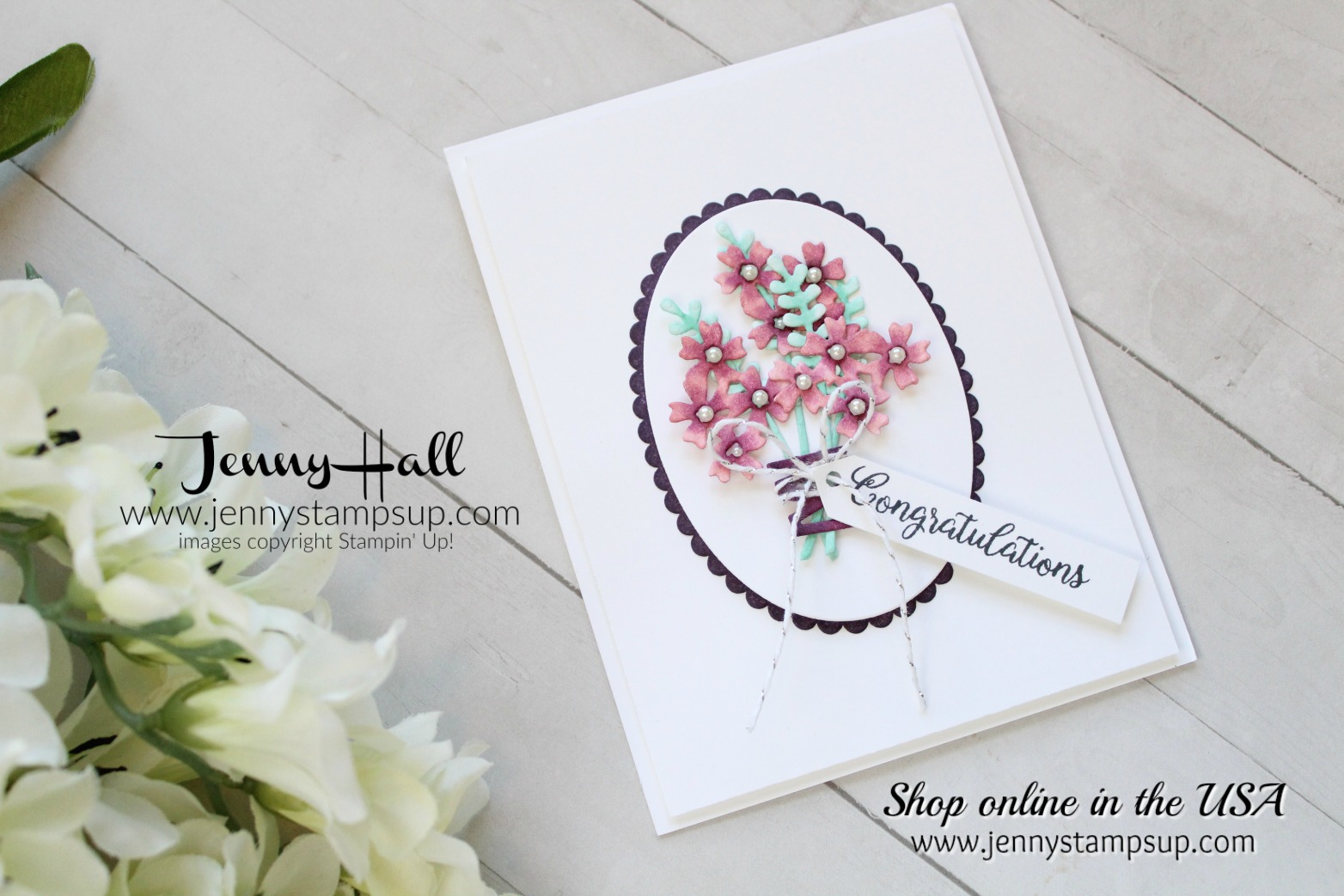 Beautiful Bouquet hand colored card by Jenny Hall at www.jennystampsup.com for #stampinup #cardmaking #videotutorials #scrapbooking #cascards #cleanandsimplecards #beautifulbouquet #jennyhalldesign #jennystampsup #jennyhallstampinup #stamping #watercolorpainting and more!