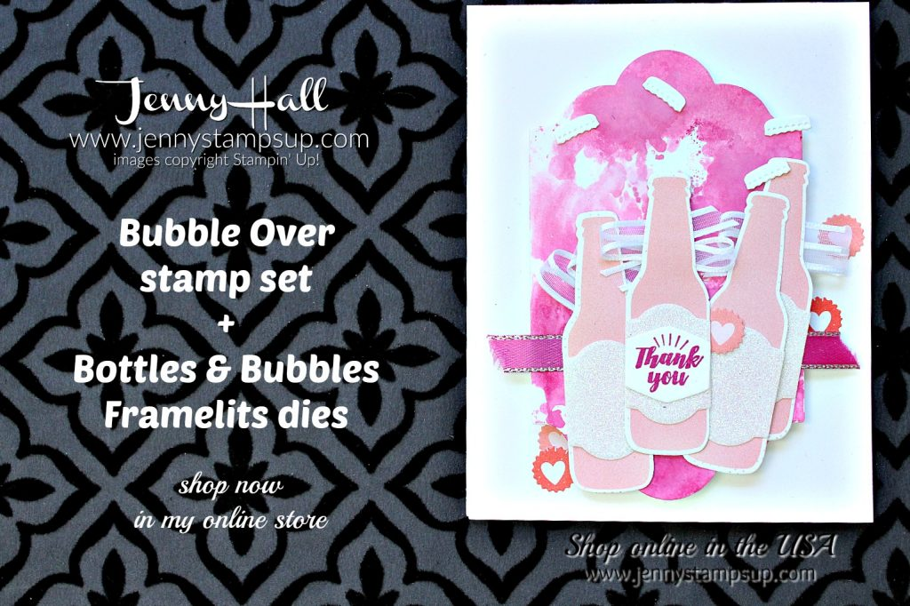 Bubble Over party card by Jenny Hall at www.jennystampsup.com for #stampinup #cardmaking #cardmakingtechniques #watercolor #watercolortechniques #bubbleover #stampinkpaperchallenge #pink #jennyhalldesign #jennystampsup #jennyhallstampinup