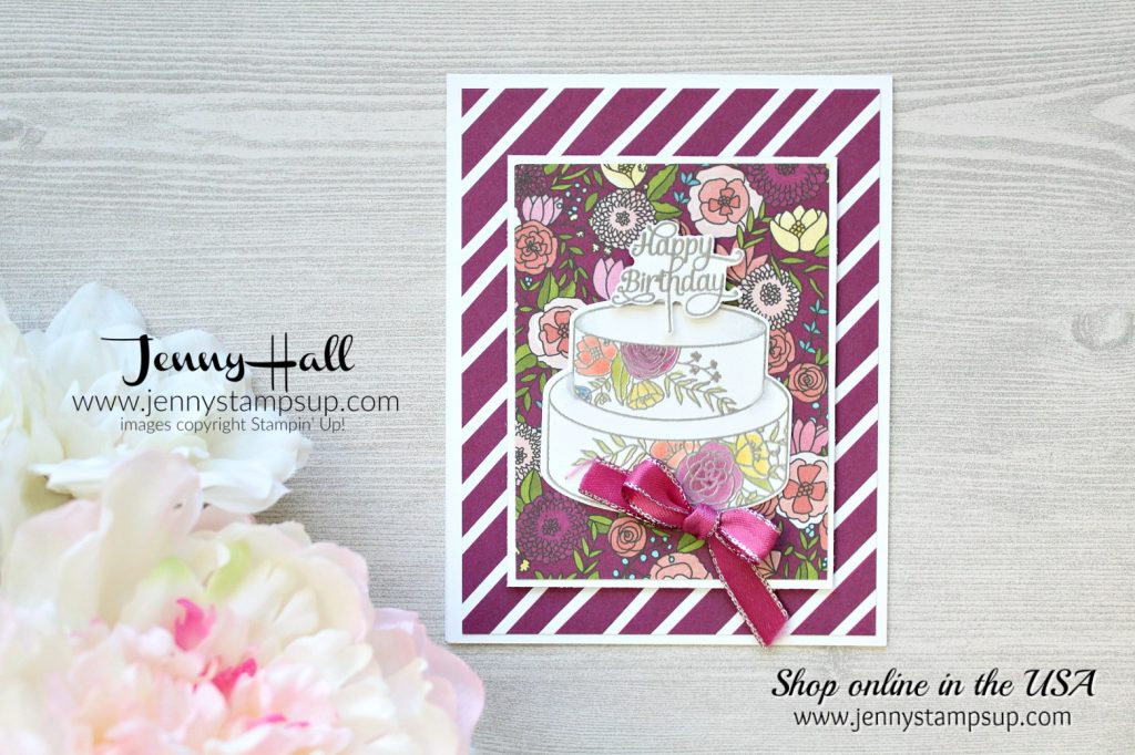 Cake Soiree Memories & More card pack card by Jenny Hall at www.jennystampsup.com for #stampinup #videotutorials #cardmaking #cakesoiree #scrapbooking #jennyhalldesign #jennystampsup #jennyhallstampinup #2018occasionscatalog and more!
