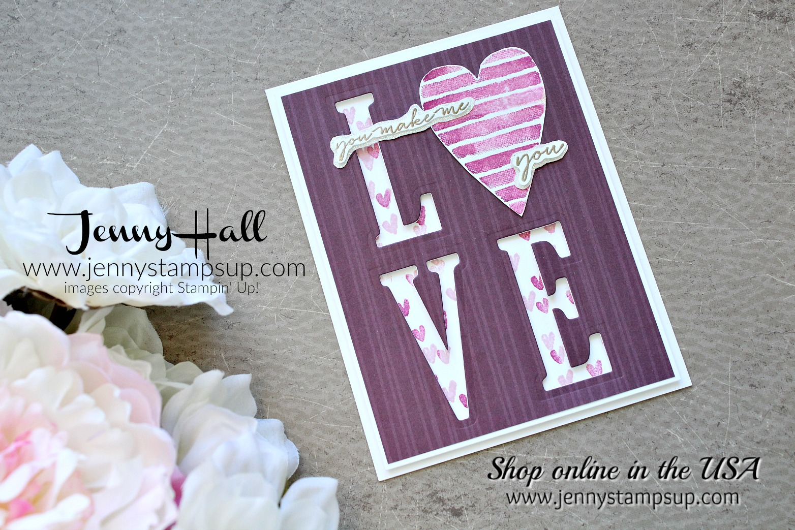 Heart Happiness Valentine's Day card by Jenny Hall at www.jennystampsup.com for #cardmaking #valentinesdaycard #stamping #stampinup #happywishesstamp #largelettersframelits #jennystampsup #jenyhalldesign #jennyhallstampinup #papercrafting #artsandcrafts #lovenote