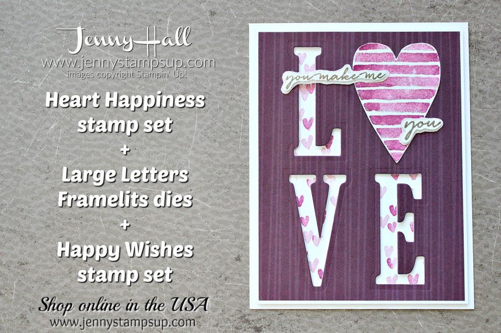 Heart Happiness Valentine's Day card by Jenny Hall at www.jennystampsup.com for #cardmaking #valentinesdaycard #stamping #stampinup #happywishesstamp #largelettersframelits #jennystampsup #jenyhalldesign #jennyhallstampinup #papercrafting #artsandcrafts #lovenote