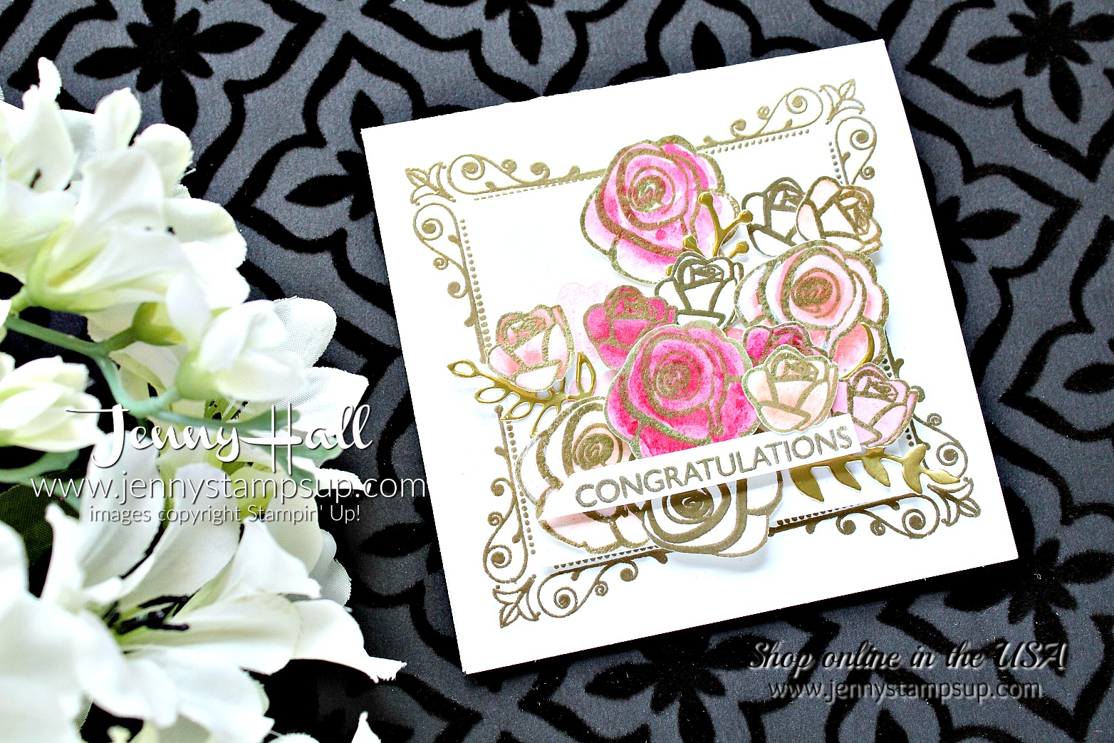 A Dozen Roses card by Jenny Hall at www.jennystampsup.com for #cardmaking #stampinup #inspiredevents #rosestamp #dozenroses #watercolor #papercraft #jennystampsup #jennyhalldesign #jennyhallstampinup #kidfriendlycraft #stamping #artsandcrafts #painting