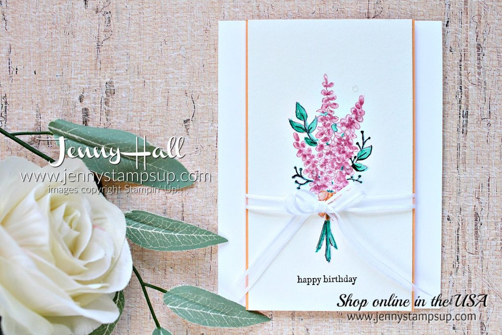 Lots of Lavender card by Jenny Hall at www.jennystampsup.com for #cardmaking #stampinup #lotsoflavender #watercolor #cardmakingtechnique #jennystampsup #jennyhalldesign #jennyhallstampinup #stamping #cascards #cleanandsimplecards #videotutorial #cardmakingvideo