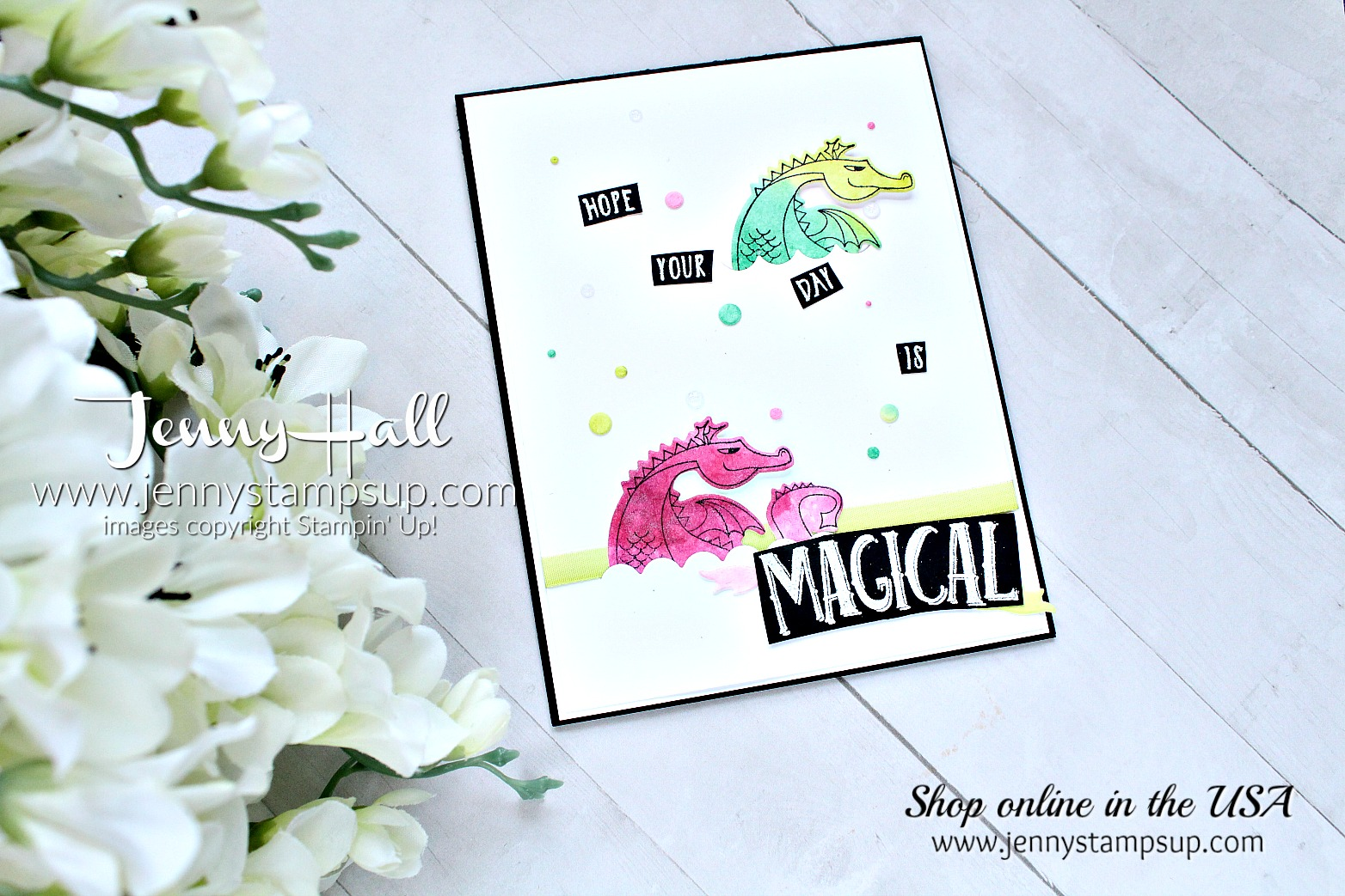 Salted Watercolor dragons card by Jenny Hall at www.jennystampsup.com for #cardmaking #stampinup #magicalday #dragon #dragonstamp #cardmakingtechniques #stampinup #jennystampsup #jennyhalldesign #jennyhallstampinup #cascards #cleanandsimplecards #stamping #cardmakingvideo #processvideo