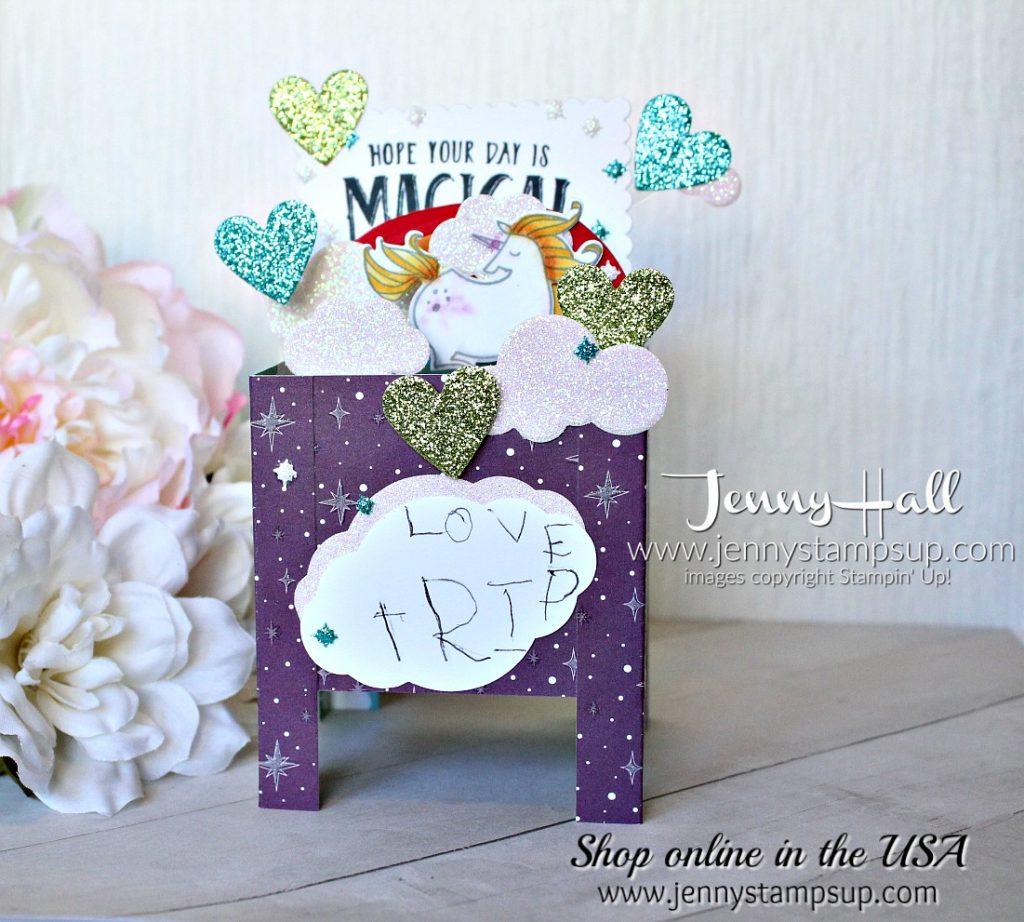 Magical Day Box Card by Jenny Hall at www.jennystampsup.com for #cardmaking #addinktivedesignteam #unicorn #cardinabox #boxcard #getwellcard #stampinup #jennyhalldesign #jennyhallstampinup #mythsandmagicdsp #addinktivedesigns #papercraft #artsandcrafts #craftsforkids #kidfriendlycrafts #makeacardsendacard #fancyfold #fancyfoldcard