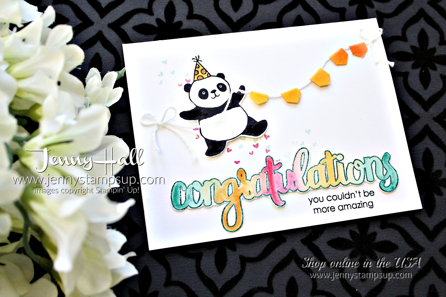 OSAT Blog Hop card with Party Pandas stamp set by Jenny Hallat www.jennystampsup.com for #cardmaking #stampinup #bloghop #jennyhall #jennyhalldesign #jennyhallstampinup #partypandas #celebrate #videotutorial #cardmakingvideo
