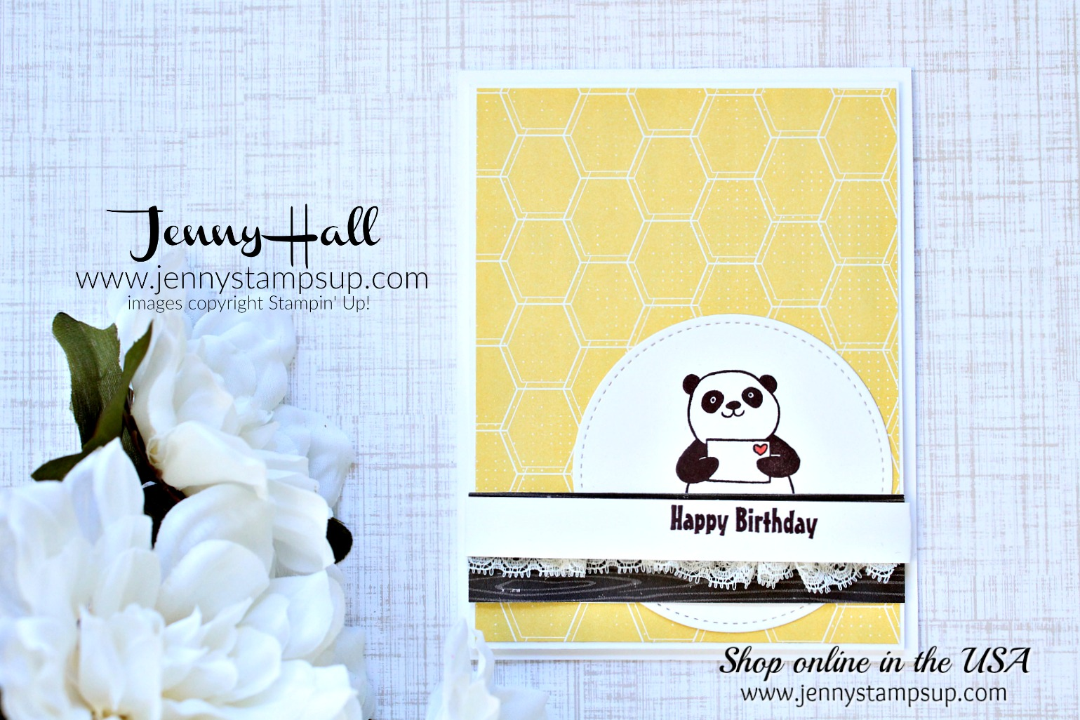 Party Pandas card by Jenny Hall at www.jennystampsup.com for #cardmaking #cardmaker #kidfriendlycraft #stitchedshapesframelits #honeybear #bubblesandfizzdsp #wwys #whatwillyoustamp #stampinup #cardmakingvideo #jennyhalldesign #jennystampsup #jennyhallstampinup #papercraft #artsandcrafts #diy