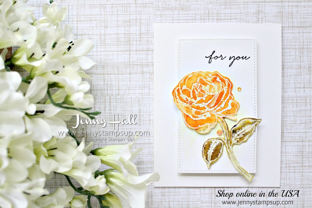 Graceful Garden Brusho card by Jenny Hall at www.jennystampsup.com for #cardmakig #videotutorial #gracefulgarden #brusho #brushocrystalcolor #videotutorial #stampinup #jennyhalldesign #jennystampsup #jennyhallstampinup #cascards #cleanandsimplecards #rose